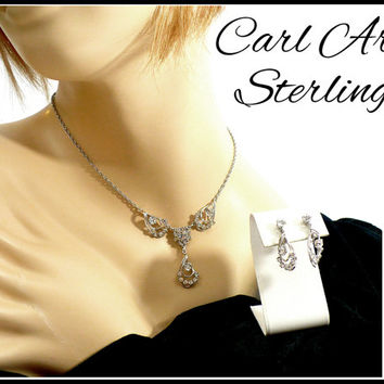 CARL ART STERLING Silver Rhinestone Necklace & Earrings Set, Designer Bridal Set Maid of Honor Bridesmaid Rockabilly, Gift For Her