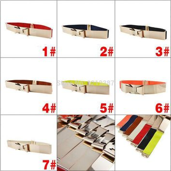 Fashion Women Golden Metal Bling Shiny Skinny Elastic Belt With Bowknot Style 7 Colors Hb88
