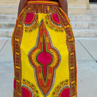 African Dashiki Yellow Maxi Skirt