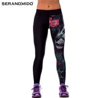 Digital Print Fitness Women Sporting Leggings Adventure Time Lion Skeleton Printed Leggings Womens SML133
