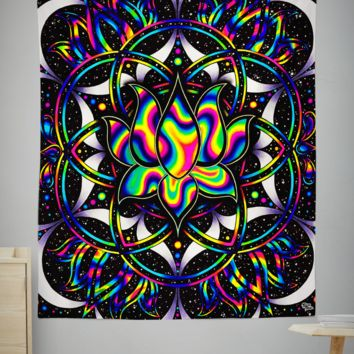 Trippy Lotus Tapestry