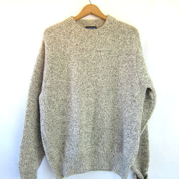 Vintage WOOL sweater. oatmeal boyfriend pullover. crewneck Sweater. Slouchy Rugged HIking Fall jumper. Oversized sweater. Men's Large