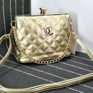Chanel Diamond Lock Metal Chain Pu Chain Shoulder Women Shopping Bag B-OM-NBPF Gold