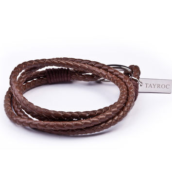 Brown Leather Double Rope Bracelet