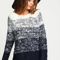 Navy Ombre Cable Knit Sweater