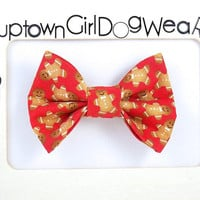 SPEEDY SHIPPING!! Christmas Dog Bow Tie Gingerbread Man Bow Tie Holiday Bow Tie Cookie Bow Tie Pet Bow Tie Bowties