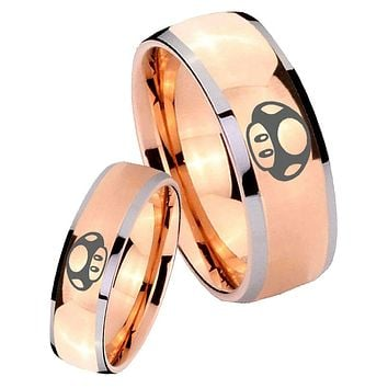 His Hers Rose Gold Dome Mario Mushroom Two Tone Tungsten Wedding Rings Set