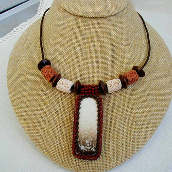 Rustic Brown&Beige Bead Embroidered Tile Pendant Necklace~Unisex Necklace~Boho Necklace~Pendant Necklace~Chunky Necklace~Fall Necklace