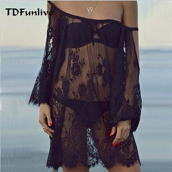 TDFunlive Saida De Praia 2017 Beach Cover Up Pareo Playa Coverup Dress Vestido Livre Swimsuit Wear Swimwear Lace Women Beachwear