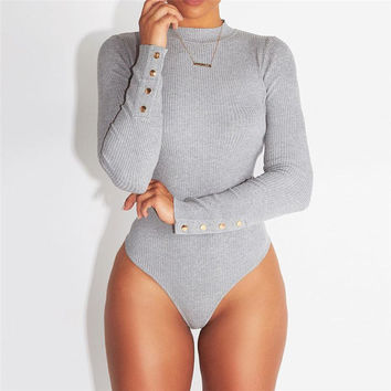 NCLAGEN New Autumn Winter Sexy Slim Solid Bodysuits Women Rompers Overalls Sexy Playsuits Bodycon Black Gray Macacao Jumpsuits