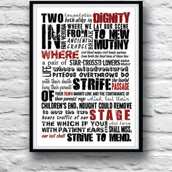 ROMEO and JULIET Poster, quote poster, minimalist, prologue, Shakespeare, wall decor, typography, A3, Modern, Classic
