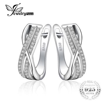 JewelryPalace 925 Sterling Silver Earrings Anniversary Channel Eternity Clip On Earrings New Birthday Present For Girlfriend