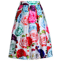 Rose Print Pleated Midi Skirt