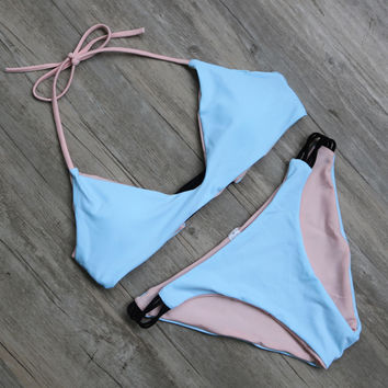Bralette Bikini Top w/ Strappy Side Bottom
