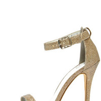 My Delicious Chacha Rose Gold Shimmer Single Strap High Heels