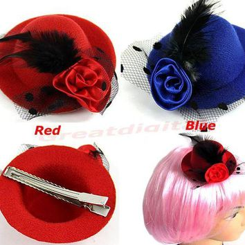 ONETOW 2PCS Girls Stage Show Hair Clips Lady Feather Rose Mini Top Hat Fascinator Party Costume Fashion Hair Accessories