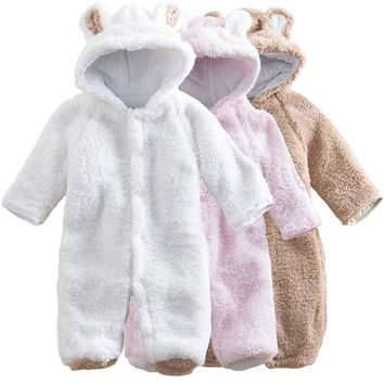 Baby Clothes 2017 Infant Romper Baby Boys Girls Coral Velvet Jumpsuit  Bebe Clothing Hooded Toddler Cute Baby Costumes Drop Ship