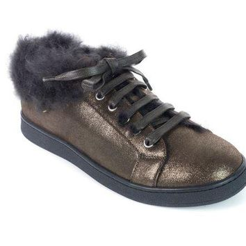 ONETOW Brunello Cucinelli Brown Metallic Leather Fur Trim Sneakers