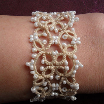 Bridal Tatting - Frivolite  Bracelet - Tatted Lace Bracelet