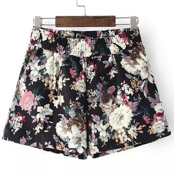 Black Floral  Print High Waist Mini Shorts