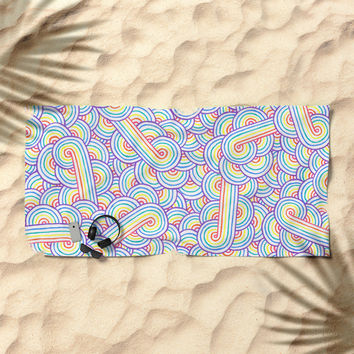 Rainbow and white swirls doodles Beach Towel by Savousepate