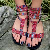 Cassandra Vegan Womens Gladiator Sandals Hmong Embroidery and Indigo Batik