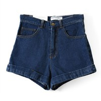 High Waist Denim Shorts With Rolled Hem