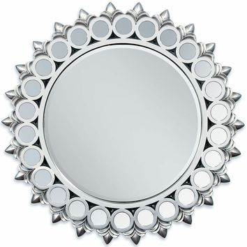 "A.M.B. Furniture & Design :: Wall Mirrors :: Silver finish sunburst geometric circles design hanging wall mirror.  Measures 40"" Dia."