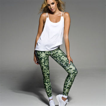 Women's Fashion Hot Sale Green Slim Leggings Casual Sportswear [9705230287]