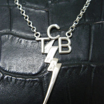 Elvis Presley JEWELRY TCB SOLID Silver Sterling 925 pendant Chain necklace art