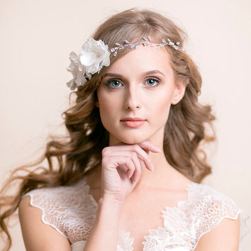 Bridal Headband with Anemone Flowers - Wedding Headband - Bridal Hairpiece - Wedding Hairpiece - Wedding Hair Vine - Hair Accessory