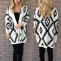 NWT Ivory Black Aztec Tribal Navajo Boho Knit Open Cardigan Ribbed Long Sleeve
