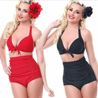 Womens Charming Plus Size Retro Trendy Bikini Swimsuit