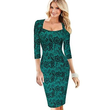 Vfemage Womens Elegant Vintage Rockabilly Spring Floral Flower Print Pinup Square Neck Party Clubwear Sheath Bodycon Dress 2023