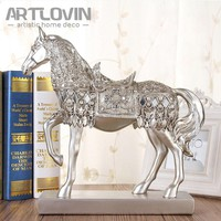 27 cm Height Luxury Decorative Handmade Vintage Silver and Golden Resin Horse Diamond Figurine ornaments Modern Home Decoration