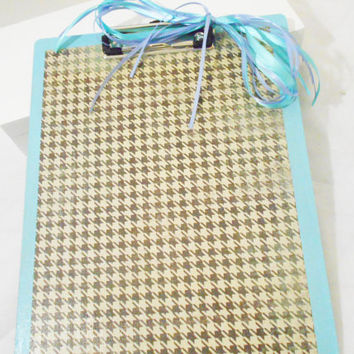 Blue Clip Board with Plaid Pattern Accents, Double sided Diamonds -- Teacher & Student Gifts - Office Supply - College, Mentor