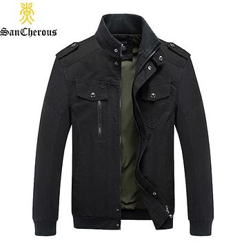 2019 New Arrival Spring Autumn Military Man Casual Jacket Stand Collar Cotton Outwear Coat Size M-6XL