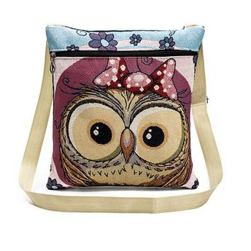 Cute Owl Printed Canvas Crossbody Shoulder Bags