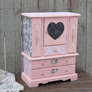 Jewelry Box, Jewelry Armoire, Shabby Chic, Pink, Grey, Damask, French, Large, Decoupage, Jewelry Organizer