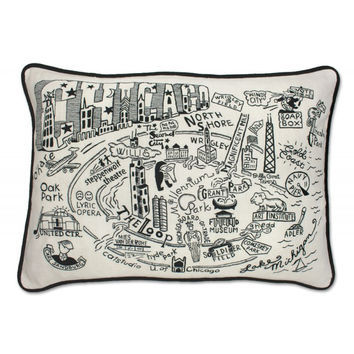 Chicago Black and White Embroidered Pillow