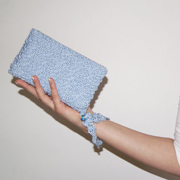 Light Blue Clutch Bag, Pale Blue Crochet Purse, Swarovski, Something Blue Bridal Accessory, Handmade Designer Handbag