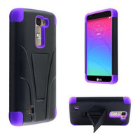 LG K7 Case, LG Tribute 5 Case, Allmet Kick Stand Case [Black PC+Purple Skin] Premium Durable Rugged Impact Protective Phone Case Cover with Built in Y-Stand Kickstand Back For LG K7