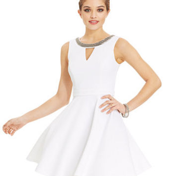 XOXO Juniors' Sleeveless Beaded A-Line Dress