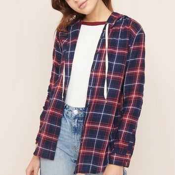Hooded Girlfriend Plaid Shirt