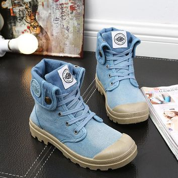Canvas Patchwork Round Toe Flat Casual Ankle Boots