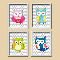 OWL Wall Art, CANVAS or Prints Whimsical Owl Nursery Baby Girl Nursery Wall Art, Girl Bedroom Pictures, Cute Owl Artwork Set of 4 Cute Owls