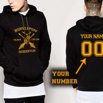 Hufflepuff Quidditch , custom name and number hoodie, custom Pullover Hoodies, male and female S-XXL