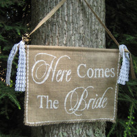 Burlap Here Comes The Bride Banner Rustic by YourDivineAffair