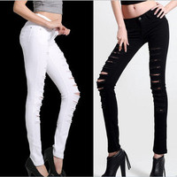 Womens Cut Out Ripped Punk Skinny Pants Jeans Slim Jeggings Trousers Black White