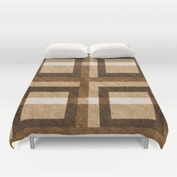 Brown Block Pixel Pattern Duvet Cover by Likelikes | Society6
